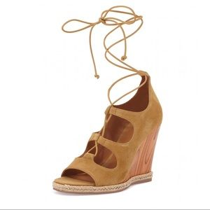 Tory Burch Rays Suede Lace-Up Wedge Sandal